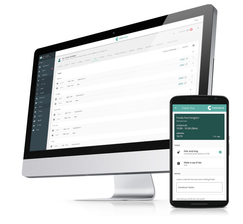 CareLineLive eMAR solution shown on desktop and on mobile handset